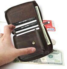 Brown Genuine Leather Bifold Wallet Coin Purse Zip Around Front Pocket