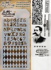 Tim Holtz Mixed Media Stencil & Stamp Pack- Numbers, Harlequin, Telegram, Letter