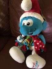 "PLUSH SMURF MACYS HOLIDAY 2010 CHRISTMAS 21"" DOLL & FINGER PUPPETS NEW W TAGS"