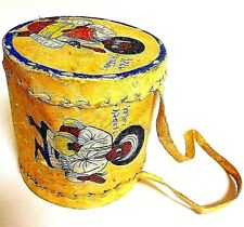 African Indian Antique Toy Drum Music Instrument Hand Painted Folk Art - TOY
