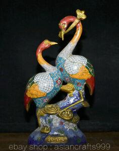 """15.2"""" China Cloisonne Emaille Kupfer Animal 2 Rotkranich Kranich Vögel Statue"""