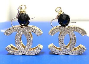 Round White Stones Dangle Drop Earrings  Yellow Gold Plated CZ & Black Onyx