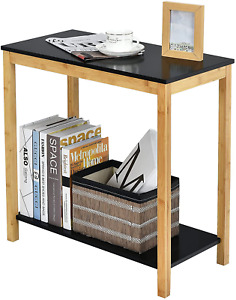 Bamboo End Table Console Side Table, 2-Tier Sofa Besidetable with Storage Shelf