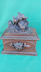 Antique Black Forest wood carved Box with 2 Rabbit