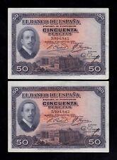 F.C. PAREJA CORRELATIVA 50 PESETAS 1927 , MBC+ , PICOS REDONDEADOS .