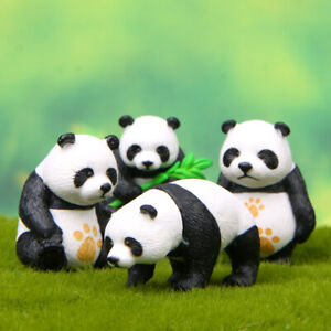 1 Set of 4Pcs Cute Panda Figure Toys Kids Toy Gift Cake Toppers Free Shipping