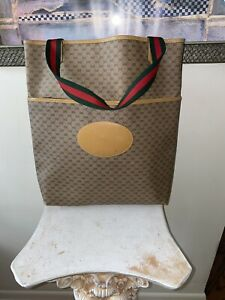 VTG 80s 🔥GUCCI XL TOTE Sherry Green Red Handle Bag Shoulder MICRO MONOGRAM GG