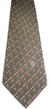 Authentic CELINE Paris Mens 100% Silk Tie Green Striped Made In Spain Necktie