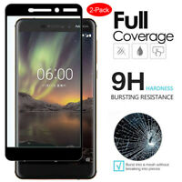 [2-PACK] Full Coverage Tempered Glass Screen Protector for Nokia 6.1/8/7/6/5/3/2