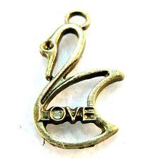 "10Pcs. Tibetan Antique Bronze SWAN ""Love"" Bird Charms Ear Drops Pendants BD101"