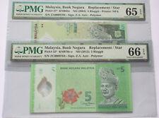 (PL) NEW: RM 5 ZA ZC 0008764 PMG 65-66 EPQ 3 ZERO SAME REPLACEMENT NUMBER UNC