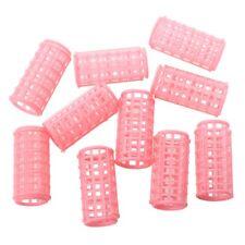 Hot Sale 10 Pcs Lady Pink Plastic Magic Circle Hair Styling Roller Curler Q K4D7