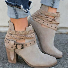 Women's Ankle Martin Boots Block High Heel Metal Buckle Belt Round Toe Shoes Hot