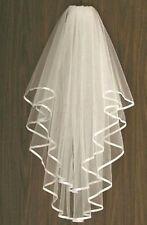 Ivory Bridal Wedding Veil 2 Tier Comb Attached Handmade Elbow Length