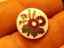 """Antique Cloisonne Button with Floral enamel design 3/4"""""""
