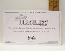 MATTEL THE BEVERLY HILLBILLIES CERTIFICATE OF AUTHENTICITY COA ONLY 2010