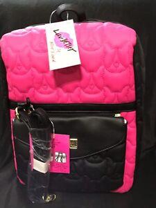 Betsey Johnson Black/Fuchsia 2-1 Backpack/Crossbody Brand New With Tags