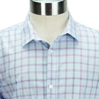 Calvin Klein Mens Large Body Fit Long Sleeve Shirt Checkered Blue Pink Purple