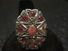 Large Vintage Sterling & Red Spinel Multi Stone NAVARATNA Ring 9 Planets Size 9