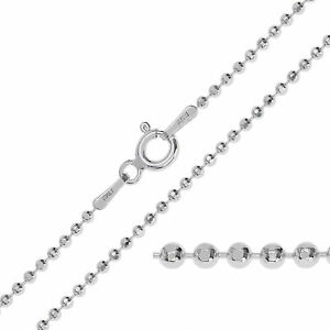 Sterling Silver DIAMOND CUT BEAD BALL Chain Necklace 1.5mm