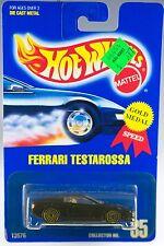 Hot Wheels No. 35 Ferrari Testarossa Black w/Gold UH's 1991