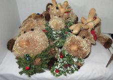 Russ Berrie Winter Ice Skating Reindeer ANTLERS family stuffed animal Set 3 size