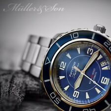 "Müller&Son Watch ""Blue Mod 1"" made from Seiko SNZH53 + Stainless Steel Bracelet"