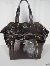 YVES SAINT LAURENT YSL Downtown Bag Brown Patent Leather Large Luxury Tote EUC