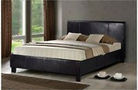 4FT6 5FT OTTOMAN  STANDARD OR STORAGE LEATHER BED BLACK BROWN WHITE + MATTRESS
