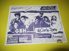 VINTAGE 80'S GBH CIRCLE JERKS UNIFORM CHOICE ACCUSED FLYER HARDCORE PUNK