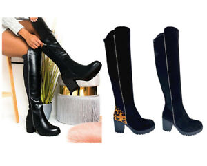 NEW WOMENS LADIES OVER THE KNEE THIGH HIGH STRETCH ZIP LOW MID HEEL BOOTS SHOES