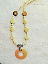 Mother of Pearl Shell Circle Pendant Necklace