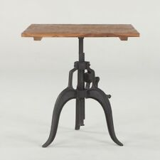 """30"""" L Square Crank Table iron base industrial design solid old teak wood top"""