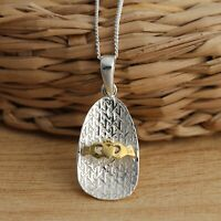 Solid 925 Sterling Silver Celtic Pendant and Gold Vermeil Claddagh Necklace
