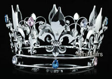 """Homecoming 5"""" Full Circle Round Crystal Pageant Silver King / Queen Crown"""