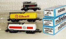 3 Märklin Kesselwagen: 4650 Esso, 4651 Shell, 4750 Texaco H0 OVP sehr gut
