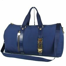 Auth MOSCHINO Logos Nylon Canvas LARGE 2WAY Shoulder Travel Hand Bag 16203bkac