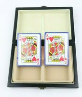 Set of Two New Sealed Playing Cards in Wooden Decorative Box