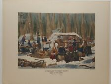 Vintage Lithograph Nathaniel Currier American Forest Scene Maple Sugaring Print