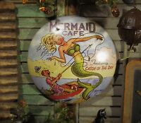 Primitive Antique Vtg Style Mermaid Sea Food Cafe Dome Tin Sign CD