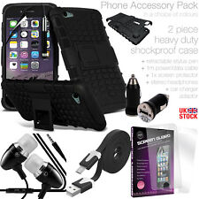 HEAVY DUTY TOUGH SHOCKPROOF PHONE CASE COVER with MULTI ACCESSORY PACK - 100% UK