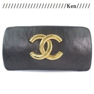 CHANEL Barrette Hair clip pin AUTH Coco Mark CC Gold Brown leather Kawaii F/S