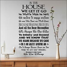 LARGE DISNEY HOUSE RULES IN THIS WE LET IT GO FONTS  WALL ART STICKER TRANSFER