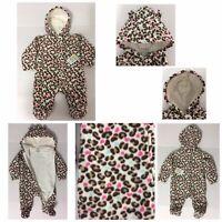 Healthtex Baby Girl Infant One Piece Fleece  Snowsuit Pram Warm Hooded 3-6 M New