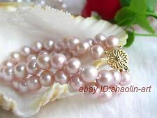vogue,2 rangées, rose,perles d'eau douce, naturel,Bracelet ,18 cm