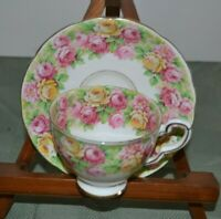 Royal Stafford Bone China Tea Cup and Saucer  Roseanne Pattern Roses