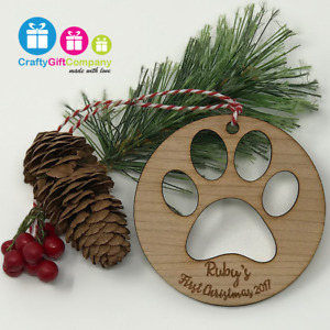 Cat pet bauble paw print tree decoration Christmas personalised