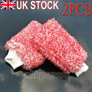2Pcs Microfiber Soft Wash Mitt Ultra Car Detailing Cleaning Premium Wash Glove