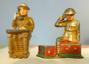 (2) BARCLAY MANOIL LEAD TOY SOLDIERS - Reading Map & Field Radio Operator