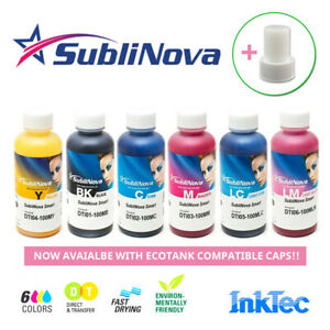 Genuine Inktec SubliNova Smart Sublimation Ink for Epson Printers 100ml + Caps